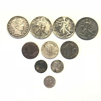 Lot of 10 Damaged Silver Type Coins: Barber, Walking Seated Standing Liberty