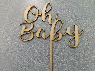 Cake Topper - Oh Baby - Rustic wood