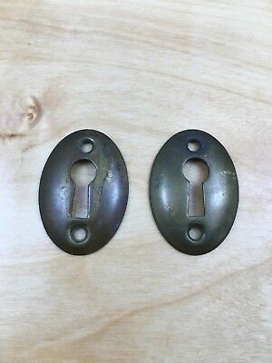 2 Vintage Antique Brass Convex Oval Escutcheon Skeleton Key Hole Covers (1 Pair)