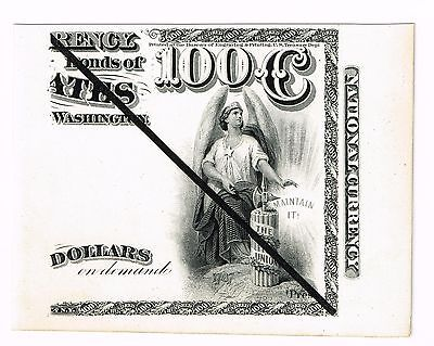 $100 National Currency intaglio 1800s Heath proof impression original BEP plates