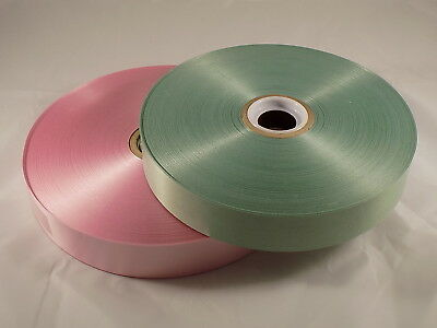 "2 Rolls Commercial ribbon 1 1/4"" wide Green Pink 1"" ID 1 7/8"" OD Floral Crafting"