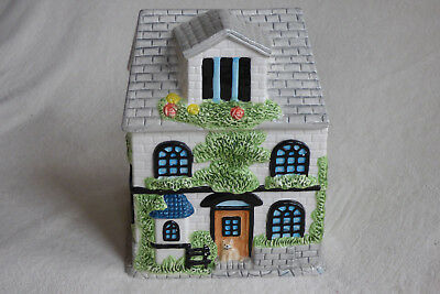 Kitchen Collection HOUSE Cookie Jar - Cat, Green Trees, Blue Window Original Box