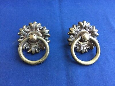 Pair of Antique Vintage Brass Drop Drawer Pull Handles