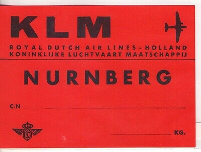 Klm Holland Royal Dutch Airlines To Nurnberg Germany Luggage Label 1950's