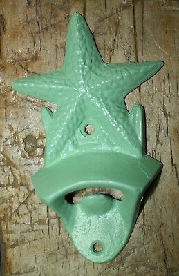 Cast Iron STARFISH Bottle Opener Nautical Beer Soda Opener Green Man Cave