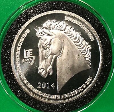 2014 Year Of The Horse Chinese Zodiac 1 Troy Oz .999 Fine Silver Rare Round Coin