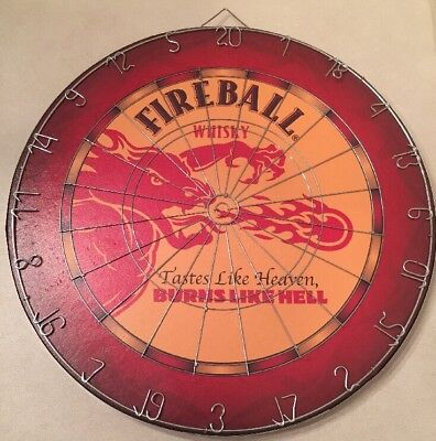Fireball Whiskey Custom Dart Board Dragon Man Cave Sports Bar Dart Board Beer