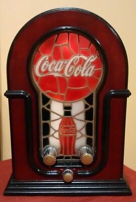 """COCA COLA AM / FM Table Top Radio Lighted Stained Glass 12 1/2"""" Tall"""