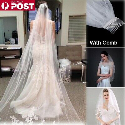 White Ivory 1T Cathedral Applique Edge Lace Bridal Wedding Veil With Comb 3M CR
