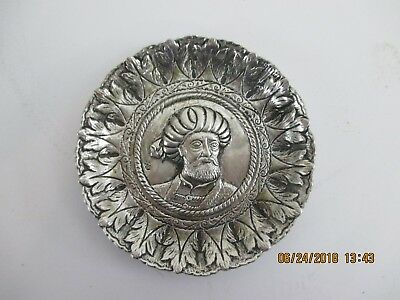 Islamic Coin Silver Pin Tray - Hand Chased With Image Of Muhammad