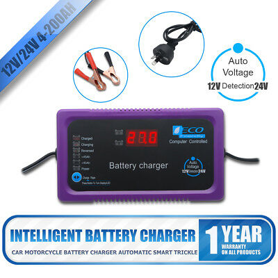 NEW GEL AGM Battery Charger 12v 24v Auto Smart 2a 6a Car Boat 4WD Caravan Bike
