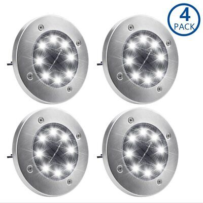 Solar Ground Lights,Garden Pathway Outdoor In-Ground Lights With 8 LED 1-4pack