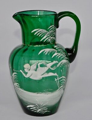 Antique Mary Gregory Emerald Green Jug - Angle Blowing A Trumpet 16cm/600ml