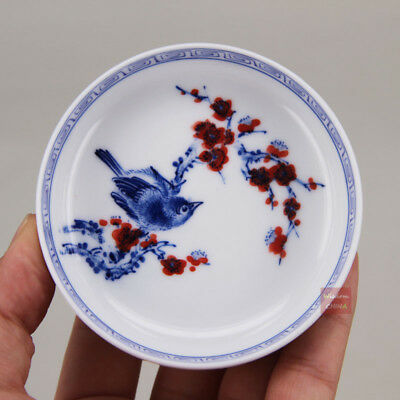 Hand painted bird flower Chinese Jingdezhen Blue & White Porcelain Tea Cup 60ml