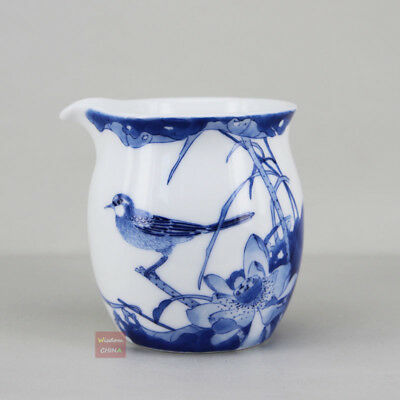 Hand painted bird & flower Chinese Jingdezhen Porcelain Tea Pitcher teacup 180cc