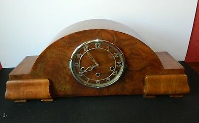 Beautiful Art Deco Chiming Mantle Clock with Pendulum & Key Working