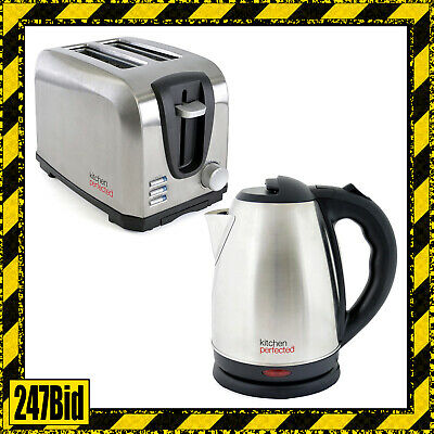 2200W 1.7L Stainless Steel Cordless Electric Jug Kettle + 2 Slice Toaster Set