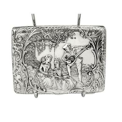 ANTIQUE EDWARDIAN STERLING SILVER CARD CASE with SCENES - 1901