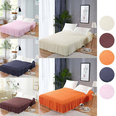 Elastic Bed Skirt Dust Ruffle Easy Fit Wrap Around Double Queen Size Polyester
