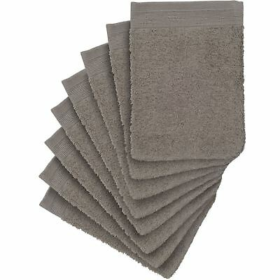 8 x Premium Quality Wash Mitts Absorbent Flannel Face Mitt Body Scrub, Taupe