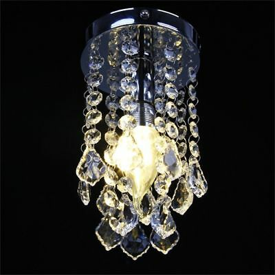Modern Round Flush Chrome Ceiling Light Raindrop Crystal Droplets Chandelier