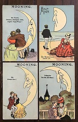 Four Artist Signed Postcards Couples Lovers and the Moon~118352