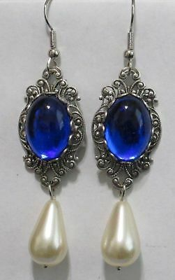 Renaissance Sapphire Blue  or Ruby Red & Pearl Earrings Pierced Ears by Dorothea