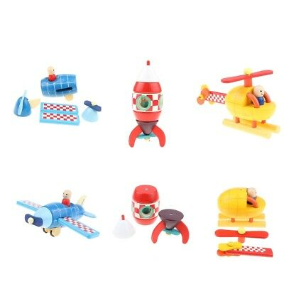 3x DIY Wooden Assembled Magnetic Aircraft Model Kids Educational Toy Gift