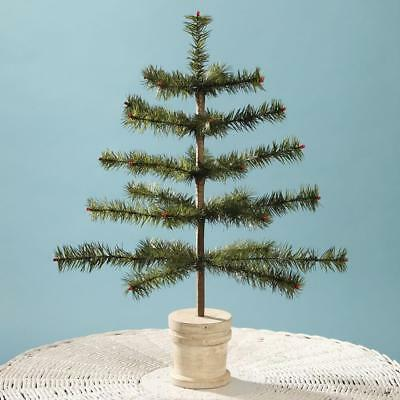 """Bethany Lowe 21"""" Dark Green Feather Christmas Tabletop Tree with Spool Base"""
