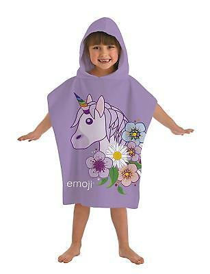 New Official Emoji Unicorn Hooded Poncho Girls Kids Beach Bath Violet Towel Gift