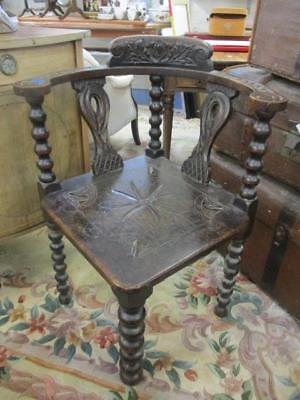 Antique Victorian Solid Hand Made Oak Carved Corner Chair. Lovely Usable Item.
