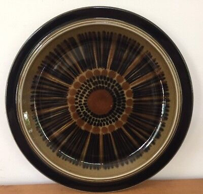 """Vtg Arabia Of Finland Stoneware Pottery Brown Kosmos Large Dinner Plate Tray 13"""""""