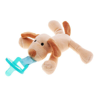 Boy Girl Baby Dummy Pacifier Clip Plush Dog Toy Soother Nipple Holder