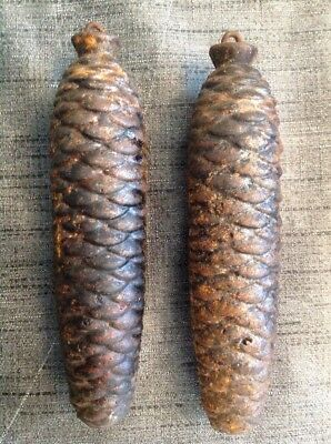 Cuckoo Clock Weights Pair Antique Pine Cone 750g Each 160mm Long