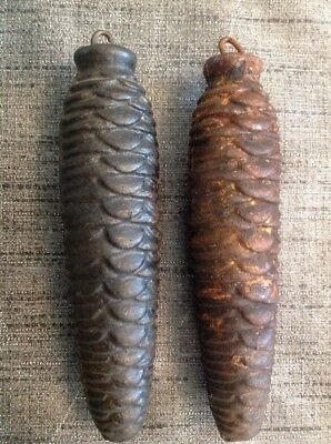 Cuckoo Clock Weights Pair Antique Pine Cone 420g Each 125mm Long