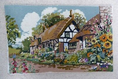 "English Cottage,vintage Needlepoint Piece, Embroidery 14"" X 9"""