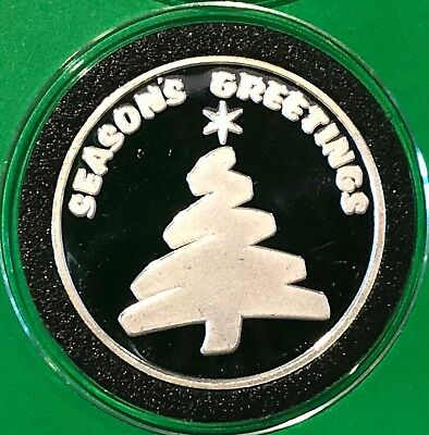 Seasons Greetings Merry Christmas 1 Troy Oz .999 Fine Silver Rare Round Coin 999