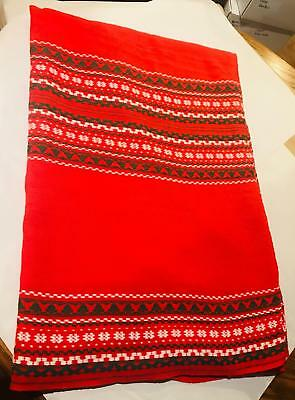 "Vintage Christmas Red, Green & White Tablecloth 82"" x 64"""