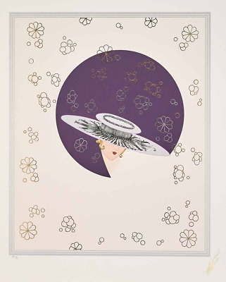 Erté - Seduction, Embossed Serigraph with Foil Stamping, Framed