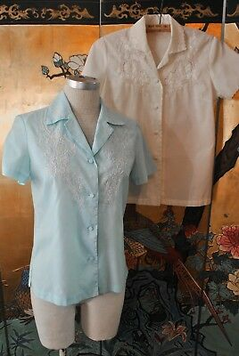Pair of Vintage 1970s Chinese Embroidered Blouse Medium