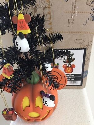 Disney Parks Pumpkin Mickey Halloween Tree with Ornaments Authentic