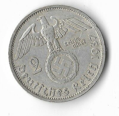 Rare SILVER 1937 WWII Germany War Eagle STUTTGART WW2 German Collection Coin 271