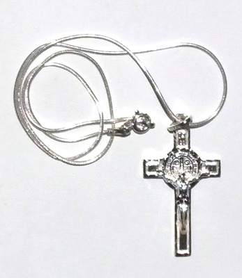 """St Benedict Benito Cross Crucifix Pendant Sterling Silver With 24"""" Chain"""