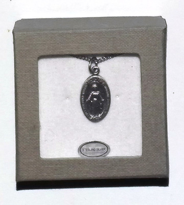 """Our Lady Of Miraculous Medal Virgin Mary Pendant Sterling Silver  With 18"""" Chain"""