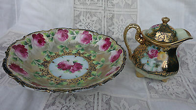 """Antique Maple Leaf Nippon Huge Bowl 9.75"""" And Teapot 5.5"""" Roses, Gold & Moriage"""
