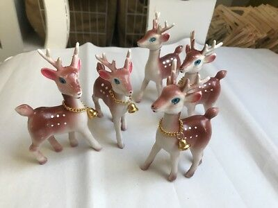 """Lot of 5 Vintage Christmas Soft Plastic Reindeers 4 1/2"""" Tall - moveable heads"""