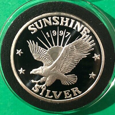 1997 Sunshine Mining 1 Troy Oz .999 Fine Silver Round PROOF Coin Medal Medallion