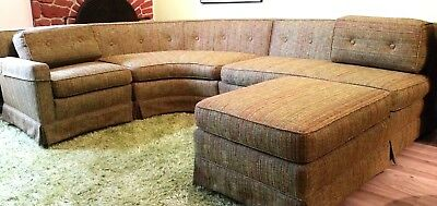 Mid Century Modern Sectional Sofa Six Pieces Green Tweed Excellent Condition