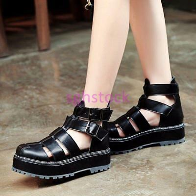 2019 Womens Hollow out PU Leather Ankle Strap Buckle Platform Round toe shoes