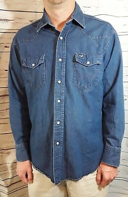 Vintage Mens Wrangler Denim Shirt with Pearl Snaps Long Sleeve Size 17.5 x 35 in